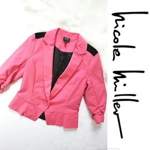 Nicole Miller Color Block Pink & Black Blazer